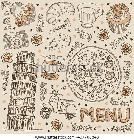 pizza. menu - stock vector