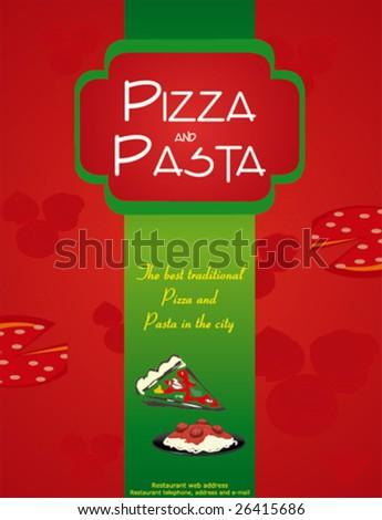 pizza menu design - stock vector
