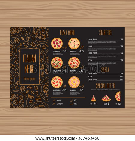 pizza menu design trifold leaflet layout stock vector royalty free