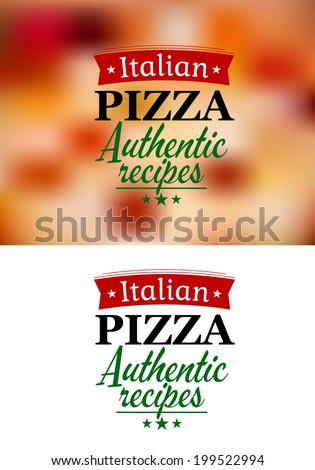 Pizza menu elements on food and white background for pizzeria and cafe logo design - stock vector