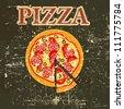 Pizza Menu Template in vintage retro grunge style vector illustration - stock vector