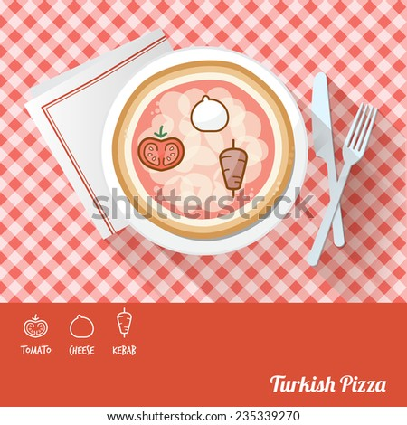 Pizza on a dish with icon ingredients and recipe name at bottom - stock vector