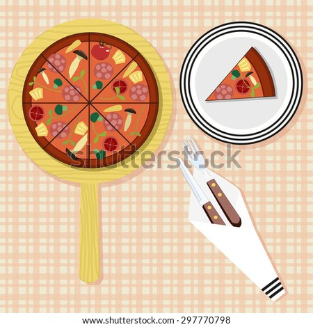 Pizza on a wooden tray. One piece of pizza on a plate. Fork and knife in a napkin. Vector illustration - stock vector