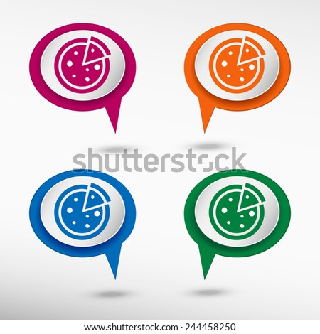 Pizza on colorful chat speech bubbles - stock vector