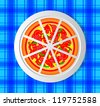Pizza on porcelain plate - stock vector