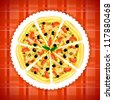 Pizza on red cloth. Vector version. - stock vector
