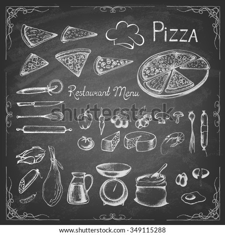 Pizza on the  blackboard. Illustration of a vintage graphic element for menu. Retro vintage style. Set of ingredients. Vector illustration. - stock vector