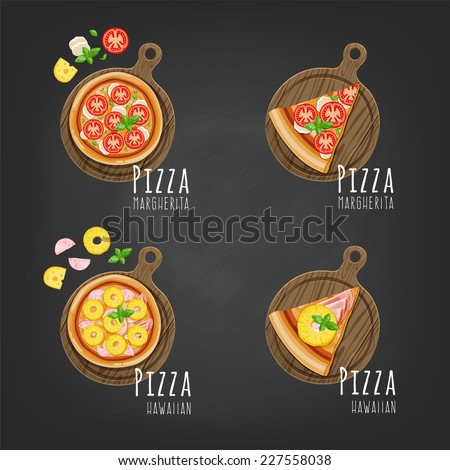 Pizza on the board and the ingredients for the pizza on the chalkboard. - stock vector