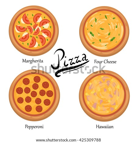 Pizza on the board and the ingredients for the pizza set of flat pizza icons isolated on white illustration of tasty pizza Pizza menu illustration isolated. Pizza vector collection isolated on white. - stock vector