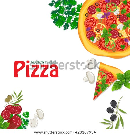 Pizza on white wooden background - stock vector