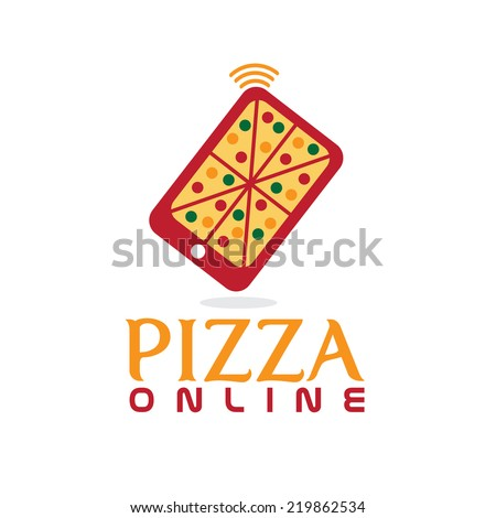 pizza online concept flat design - stock vector