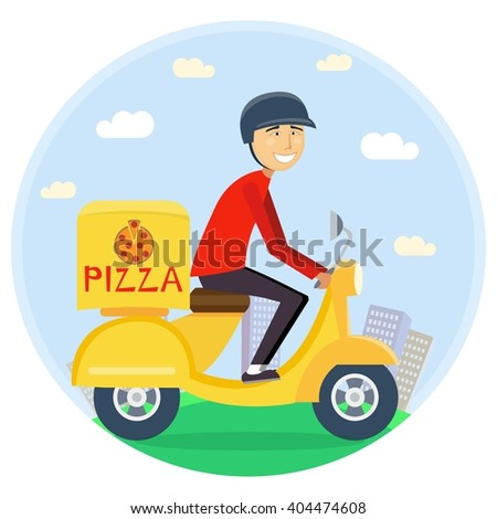 Pizza or food delivery concept. Boy riding on scooter or motorcycle, delivering fastfood. Fast and free Transport. Free shipping, restaurant service. vector flat cartoon illustration   - stock vector