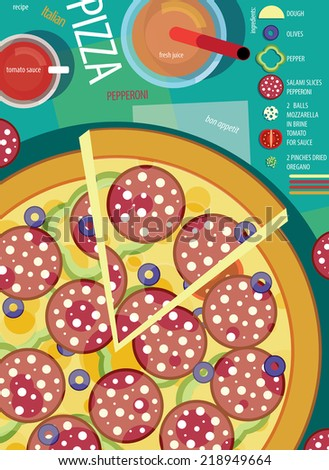 Pizza Paperoni - stock vector