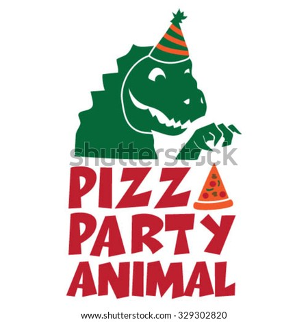 Pizza Party Animal - stock vector