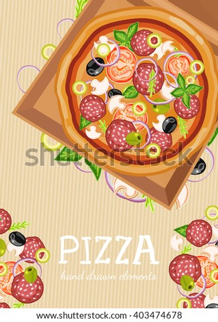 Pizza party fresh ingredients for pizza template hand drawn vector illustration - stock vector