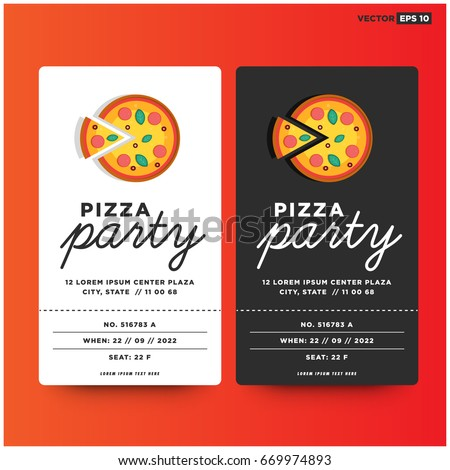 Pizza Party Invitation Template Design Stock Vector 669974893 ...