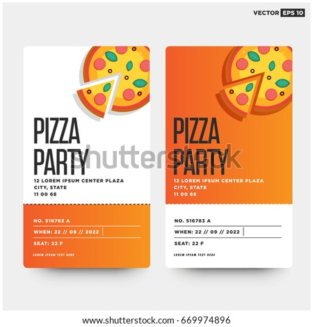 Pizza Party Invitation Template Design Stock Vector - Pizza party invitation template