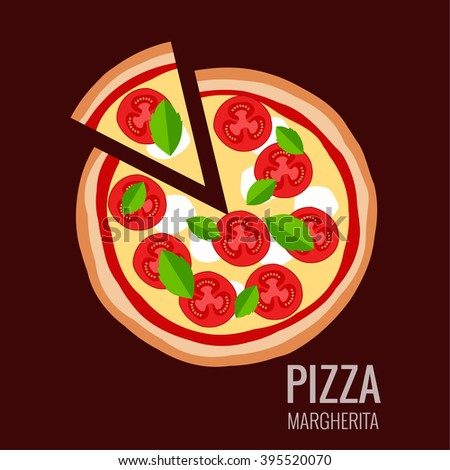 Pizza piece icon background. Pizza icon flat design.  Flat illustration of pizza slice for pizza menu. Vector pizza  silhouette collection. Pizza isolated  background. Pizza food illustration - stock vector