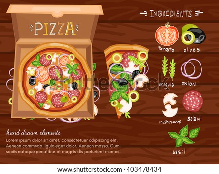 Pizza. Pizza ingredients. Design template. Vector illustration - stock vector