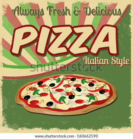 Pizza poster in vintage style, vector illustration - stock vector
