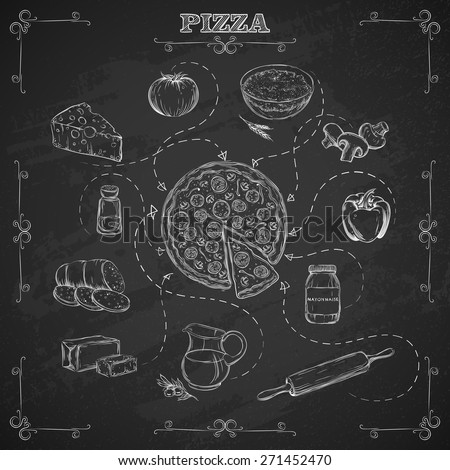 Pizza recipe. Ingredients for pizza in sketch style. Background chalk board. Vector illustration. - stock vector