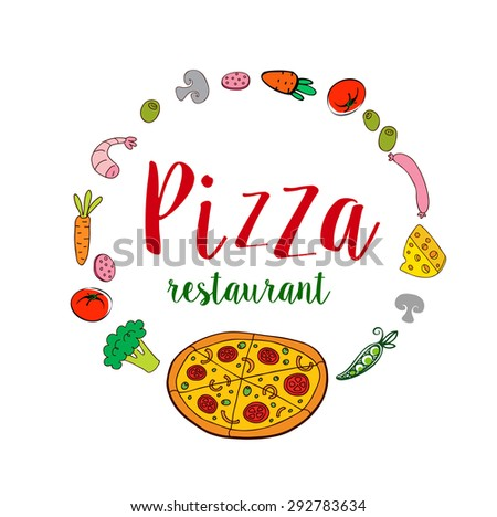 Pizza restaurant banner with frame of fresh ingredients - stock vector