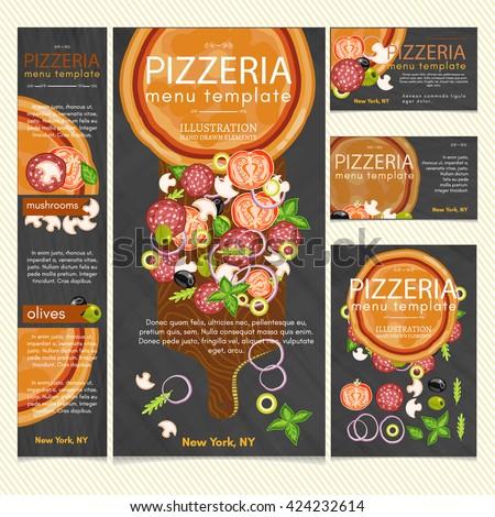 Pizza restaurant menu pizza banner make pizza  template vector - stock vector