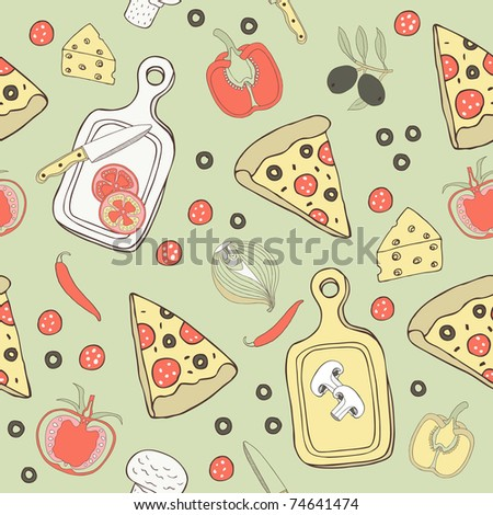 stock vector pizza seamless background 74641474 - Каталог — Фотообои «Еда, фрукты, для кухни»