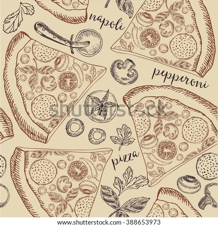 Pizza seamless pattern background. Food design icons hand-drawing elements. Graphic texture for restaurant template menu.