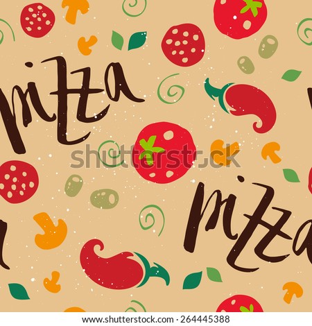 Pizza seamless pattern. Set of vegetables. Tomatoes, mushrooms, onions, peppers, salami, olives, dough. - stock vector