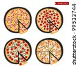 Pizza set - stock vector