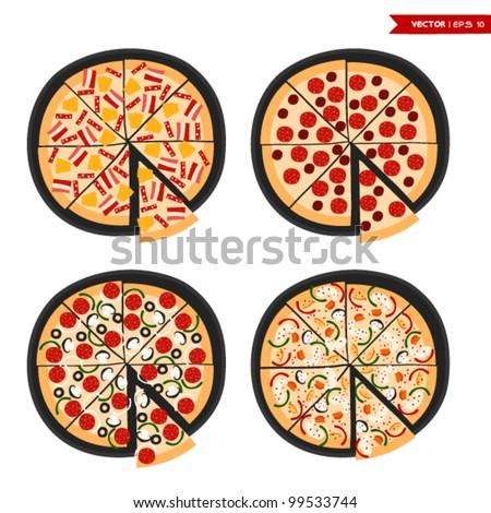 Pizza set - stock vector