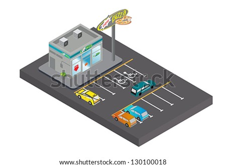 Pizza shops in town. - stock vector