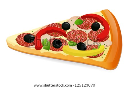 Pizza slice. Cheese pizza / Pepperoni pizza. Isolated vector illustration on white background. EPS 10 - stock vector