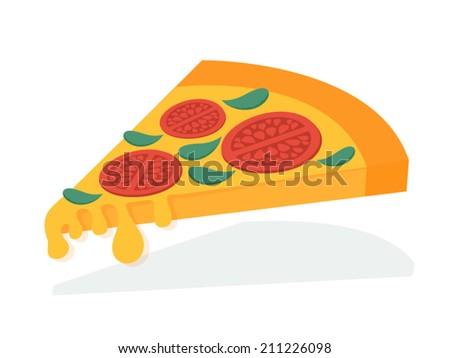 Pizza. Slice of margarita pizza, fast food. Vector illustration. - stock vector