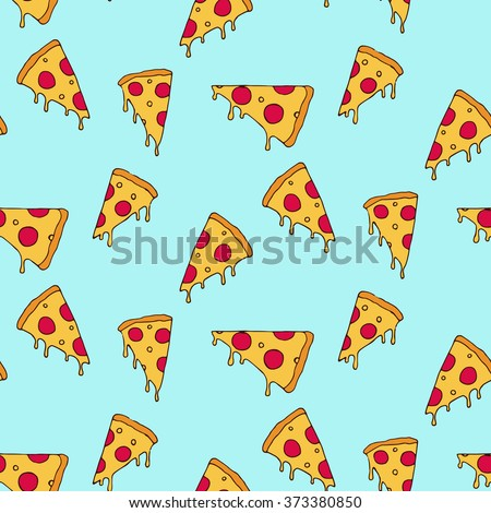 Pizza slice seamless pattern - stock vector