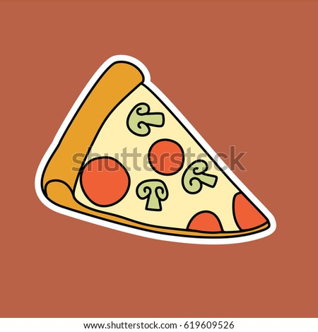 Pizza slice sticker flat icon vector illustration good for menu design