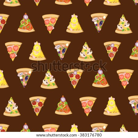 Pizza slices illustrations icons pizzeria wallpaper pattern with colorful elements and brown board background - stock vector
