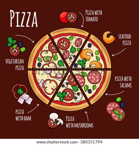 Pizza slices with pizza ingredients of different kinds. Image for pizza menu. Vector illustration - stock vector
