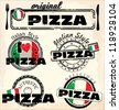 Pizza stamp - set - stock vector