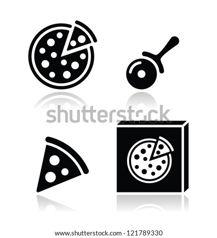 Pizza vector icons set with reflections - stock vector