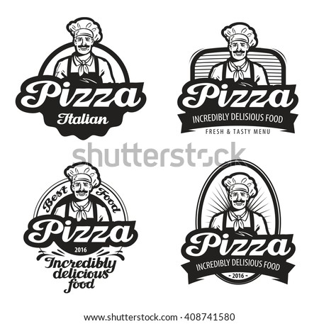 pizza vector logo. cafe, food, pizzeria, restaurant or chef icon - stock vector