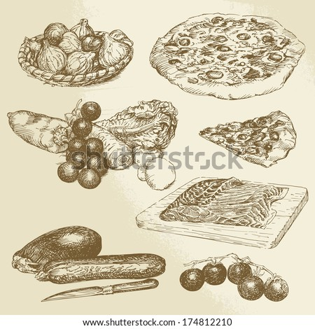 pizza, vegetables - hand drawn collection