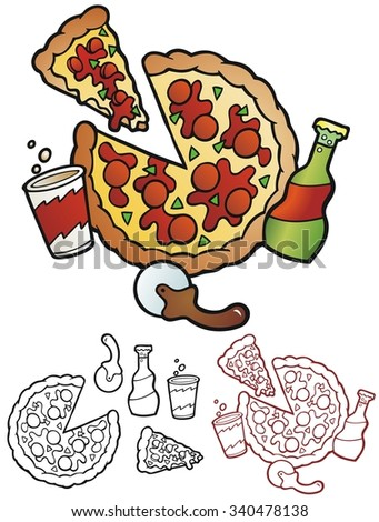 Pizza with a cup, bottle, cutter, and loose slice. with black outlines and separate items. - stock vector