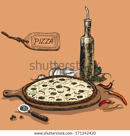 Pizza with bottle of garlic oil. Hand drawn illustration. - stock vector