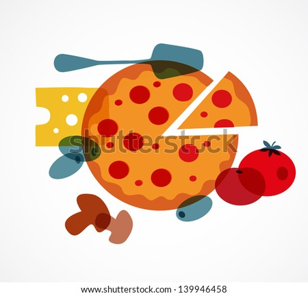 Pizza with its ingredients - stock vector