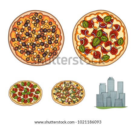 Pizza with meat, cheese and other filling. Different pizza set collection icons in cartoon style vector symbol stock illustration web.