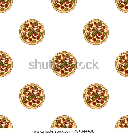 Pizza with meat, cheese and other filling. Different pizza single icon in cartoon style vector symbol stock illustration web.