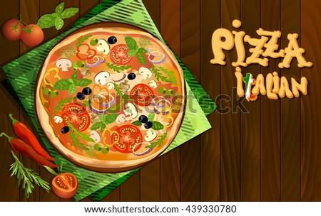 Pizza with mushroom and tomato, chilli, herbs on board on napkin on wooden background. Illustration for menu or pizzeria interior design. Vector stock illustration. - stock vector