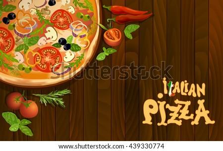 Pizza with mushroom and tomato, chilli, herbs on board on wooden background. corner design for menu or pizzeria interior design. Vector stock illustration. - stock vector